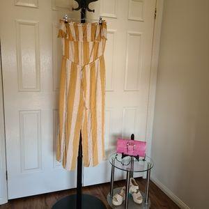 Ghanda Medium Yellow White Stripe Strapless Jumpsuit | Yellow Stripe Tube Romper